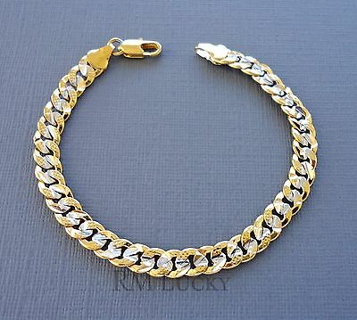 14k Yellow Gold filled Bracelet Hammered Link Chain 6mm Lobster clasp a6