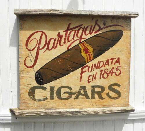 Cigar Sign hand painted original Partagas havanna decor wooden art