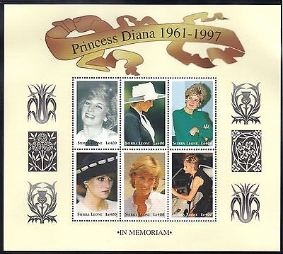 SIERRA LEONE MNH 1998 THE DEATH OF PRINCESS DIANA SHEET OF 6 DIFFERENT STAMPS