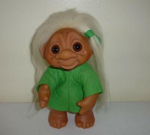 "Vintage 9"" Tall Large 1977 Thomas Dam Troll Doll  Blond Hair Brown Eyes #604"