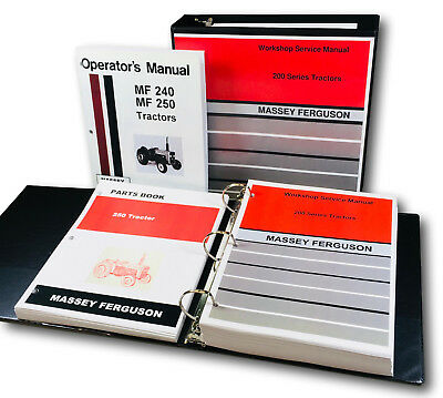 Massey Ferguson 250 Tractor Service Parts Operators Manual Shop Ovhl Master Set