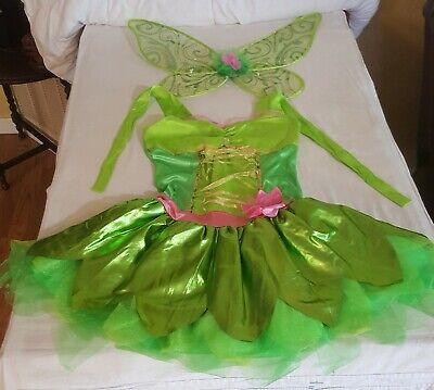 Tinker Bell Junior 7 9 costume dress and wings Disney Fairies