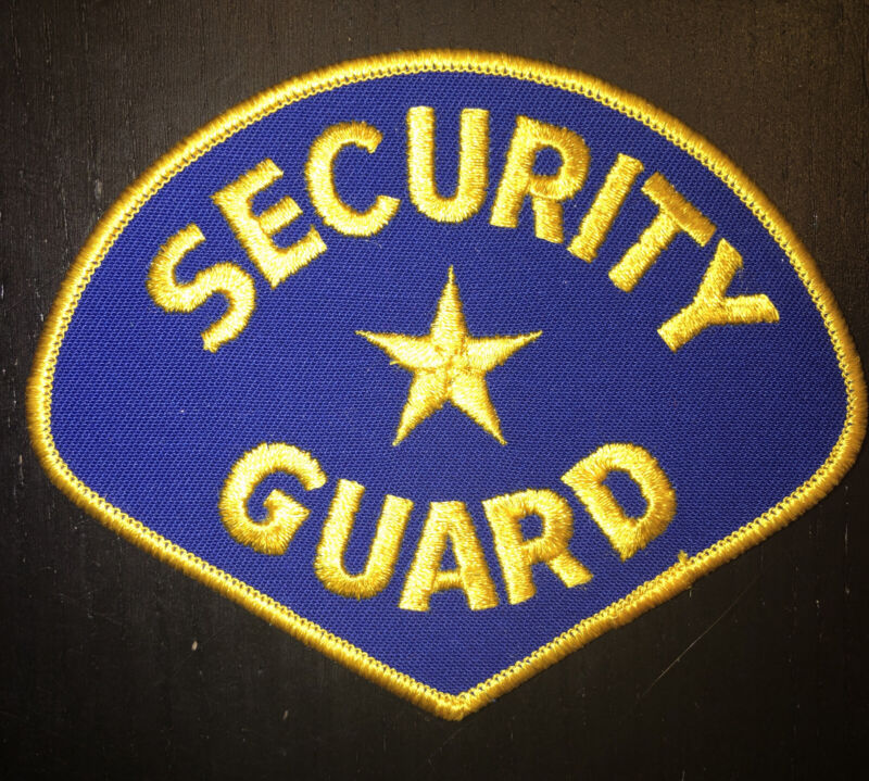 Security Guard Embroidered Patch Gold On Blue