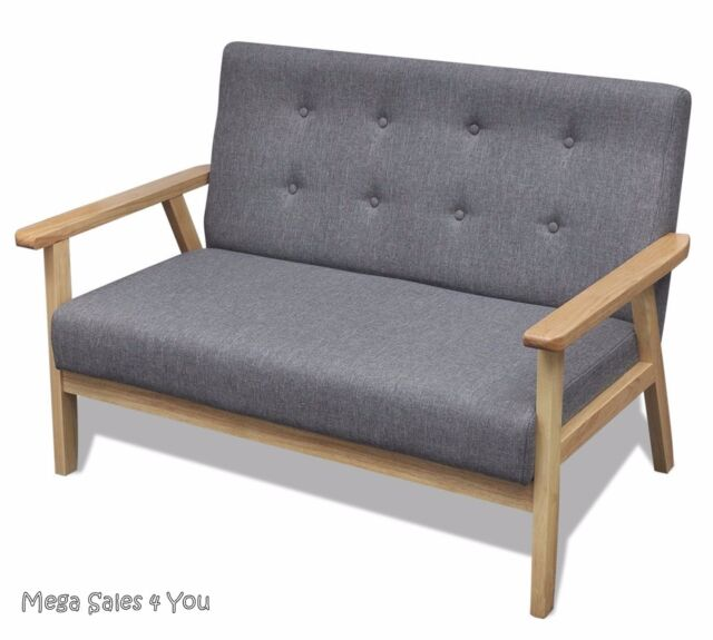 Small Retro Wooden Sofa Grey Padded Lounge Upholstery Seat Living Room Furniture