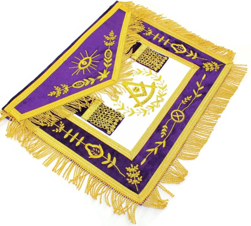 MASONIC APRON HAND EMBROIDERED GRAND LODGE PAST MASTER PURPLE
