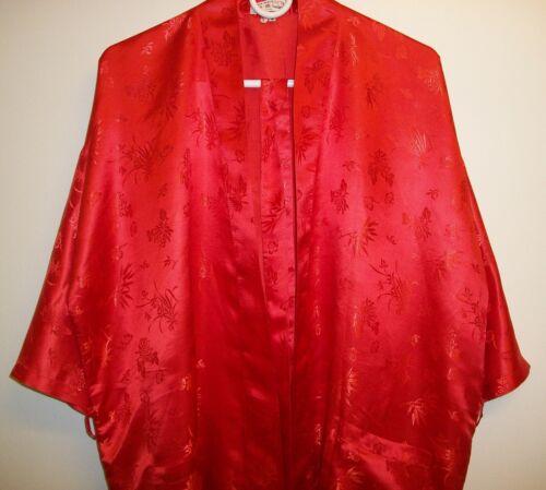 Vtg Double Peach Silk Kimono Robe Red Floral Embossed Size L