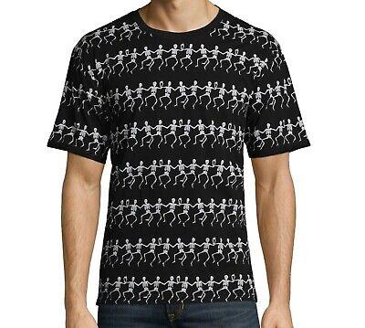 Halloween t-shirt Dancing Skeletons All Over Print Black Mens Size Medium - Dancing Skeletons Halloween