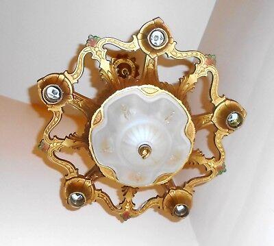 RARE Antique Art Nouveau Polychrome 1920s 6 Light Chandelier Ceiling Fixture