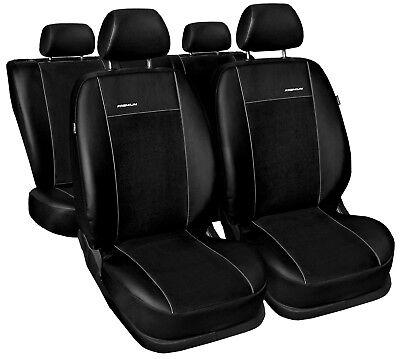 Premium Kunstleder Sitzbezüge Sitzbezug für Mercedes C-Klasse Schwarz Set
