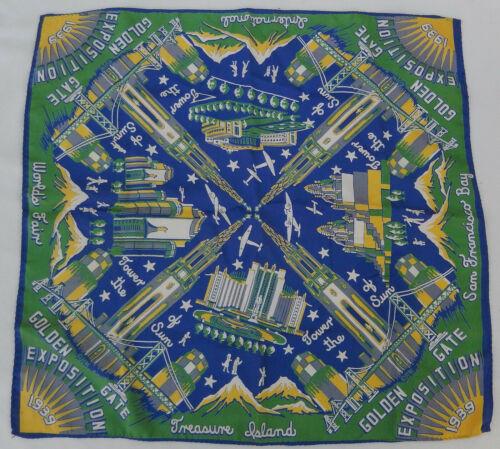 """1939-1940 Golden Gate International Exposition Souvenir Handkerchief 19"""" X 20"""""""