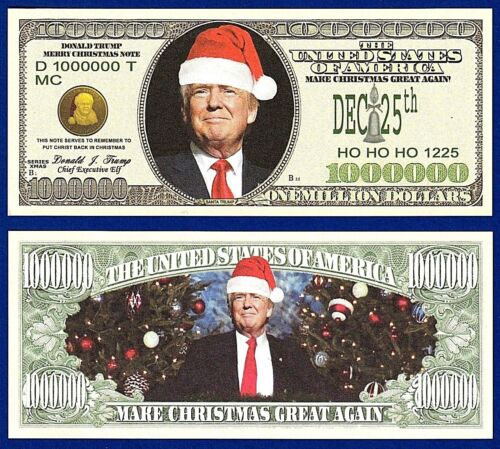 1-Donald Trump Merry Christmas Santa  Holiday Gift Dollar Bill  FAKE- MONEY-W3