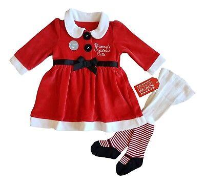 Baby Girls Christmas Xmas Santa Claus Dress Tights - Baby Santa Claus Outfit