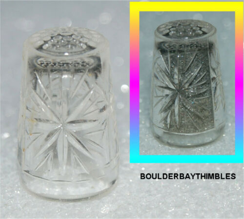 VINTAGE GERMAN PRESSED GLASS THIMBLE - STARBURST SUNBURST PATTERN