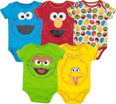 Sesame Street Baby Boy Girl 5 Pack Bodysuits Elmo Cookie Monster Oscar Big Bird](Elmo Girl)