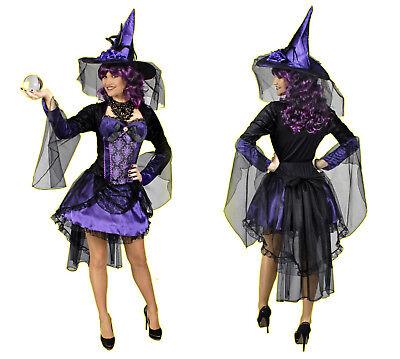 excl Damen Mädchen Kostüm HEXE Morgana Zauberin lila schwarz Hexenhut Halloween