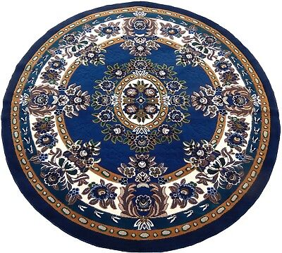 Persian Medallion Round Carpet 7x7 Round Area Rug Navy Blue Actual Size 6'7x6'7