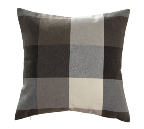 Chezmoi Collection Plaid Decorative Coffee Brown  Pillow/Cus
