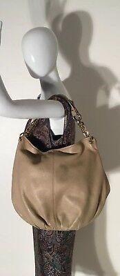 BODHI Extra Large Beige Pebbled Leather Hobo Shoulder Bag Purse ()