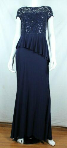 Marina Women Formal Dress Size 6 Navy Blue Full Long Length Stretch Lace Ruffle