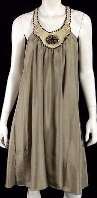 HENRY BEGUELIN Taupe Parachute Silk & Snakeskin Trim Shift Dress M