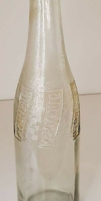 VINTAGE 1940s PEPSI COLA SODA POP BEVERAGE EMBOSSED TEXTURED CLEAR GLASS BOTTLE