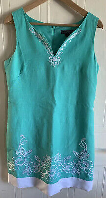 jessica howard dress Size 14 Immaculate Condition Green With White Embroidered