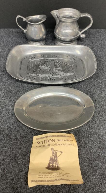 Wilton Armetale RWP Pewter Lot - 2 Creamers, Bread Tray, Small Dish