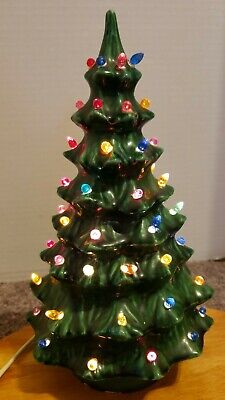 Vintage Ceramic Light up Christmas Tree Small 10 inch One Piece