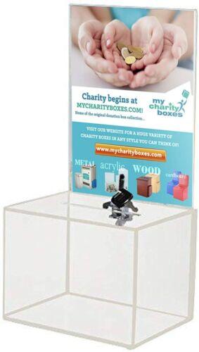 Medium Acrylic Donation Box - Ballot, Ticket, Vote, Suggestion Box w/2 Keys