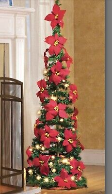 FULLY DECORATED RED POINSETTIA PRE-LIT PULL-UP POP-UP CHRISTMAS TREE
