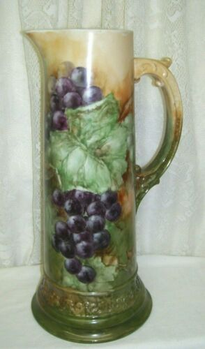 Antique Grapes and Ivy Tankard Pitcher 14.25 inches high