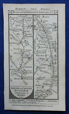 Original antique road map WARWICKSHIRE, STAFFORDSHIRE, MERIDEN, Paterson 1785