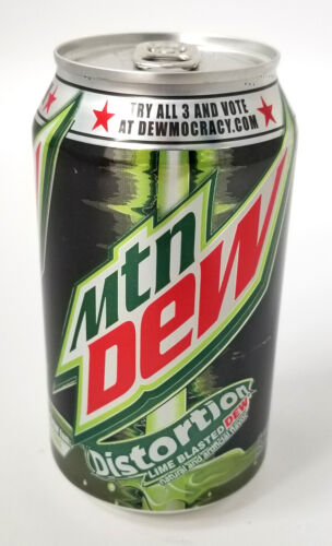 Mountain Dew Distortion New Unopened Full Can - Dewmocracy II 2 - Lime Blasted