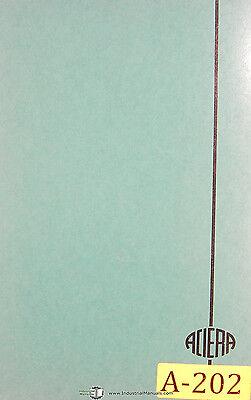 Aciera Type F5 Universal Milling Machine Operation Service And Parts Manual