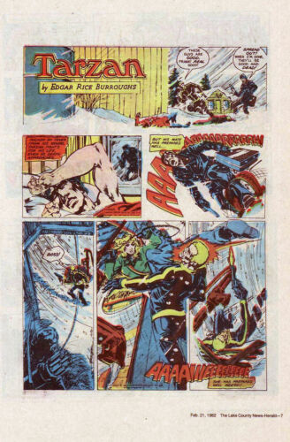 Tarzan by Burroughs & Mike Grell - full page color Sunday comic - Feb. 21, 1982
