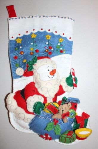 Handmade Snowman Trees Toys Felt and Sequences Christmas Stocking Completed