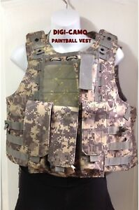 MOLLE Digital-Camo PAINTBALL Vest: Fits up to a size Large