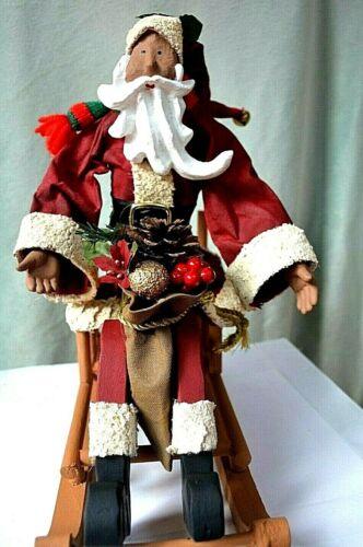 African American Santa-- Folk Art Fabric Mache Santa With Curly Beard