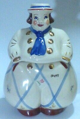 Vtg SHAWNEE Cookie Jar, HAPPY, Dutch Boy, Pristine. Signed USA