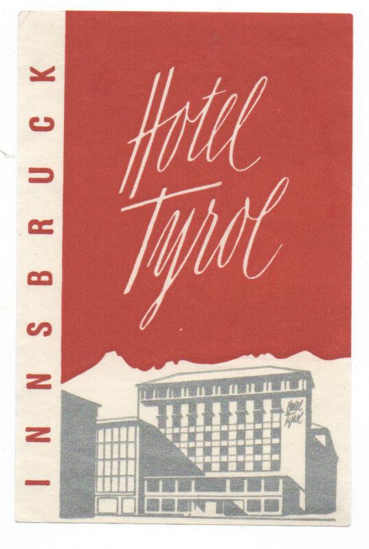 1950s Luggage Label Hotel Tyrol Innsbruck Austria