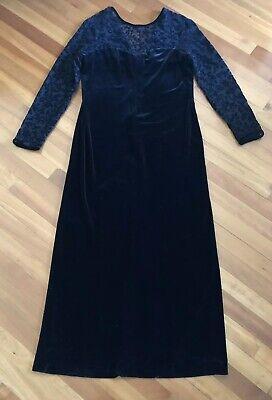 Robbie Bee black stretch velvet long formal dress  Semi Shear Top  Size 14 (Long Black Semi Formal Dress)
