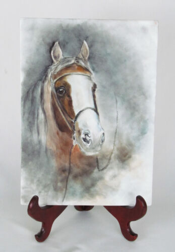 "Vintage Artist Hand Painted Horse with Bridle Reins 14"" x 10"" Porcelain Tile"