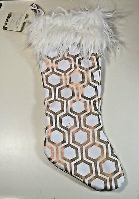 White And Gold Christmas Stockings (NWT TRIMSETTER CHRISTMAS GOLD AND WHITE GEOMETRIC FUR TRIM)