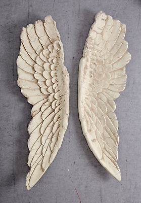 Engelsflügel XXL Wanddeko Engel Flügel Shabby Chic Weiss 100cm Hängedekoration
