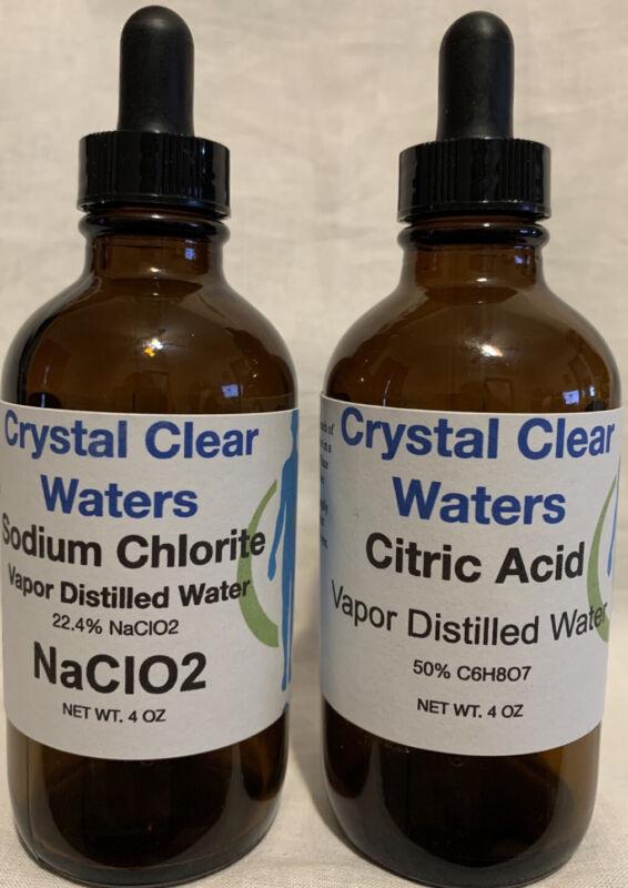 Water Purification Solution Chlorite 4oz NaClO2 4oz Citric Acid + Mixing Bottle