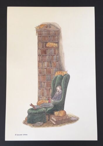 Edward Gorey *Bibliophile with Cats* Print