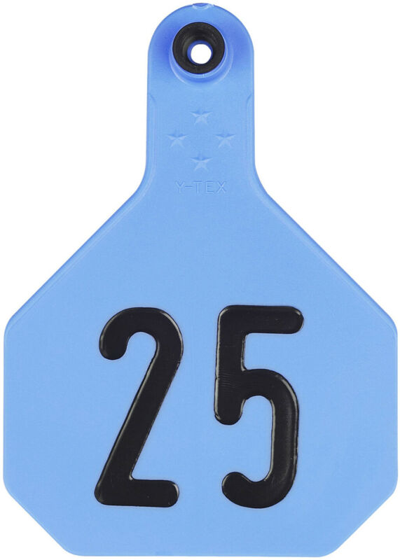 Y-Tex Large 4 Star Cattle Ear Tags Blue Numbered 1-25