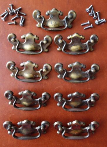 """Lot 9 Antique Aged Brass 3 5/8"""" Chippendale Furniture Drawer Pull Handle P 1745"""