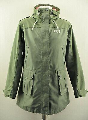 KARI TRAA Womens Jacket Outdoor Hooded Windproof Green Long Coat Size L