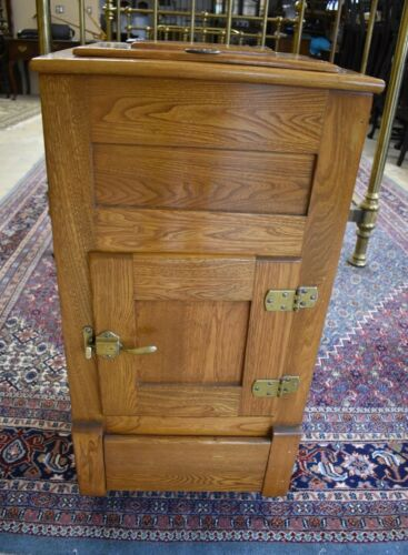 Restored Antique Oak Ice Box, Kitchen Cabinet Cupboard